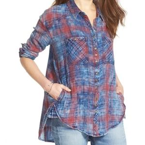 - Free People Faded Plaid Double Cloth Shirt